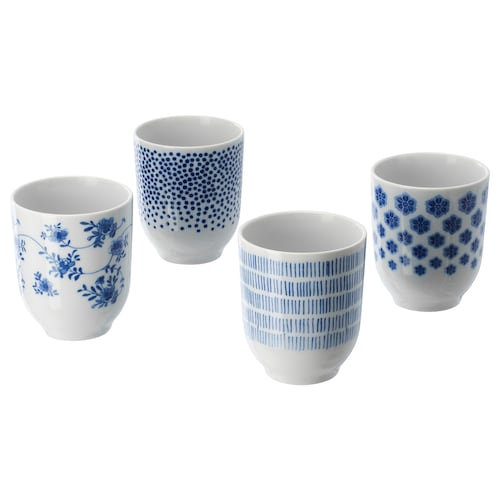 ENTUSIASM mug patterned/blue 9 cm 22 cl 4 pieces