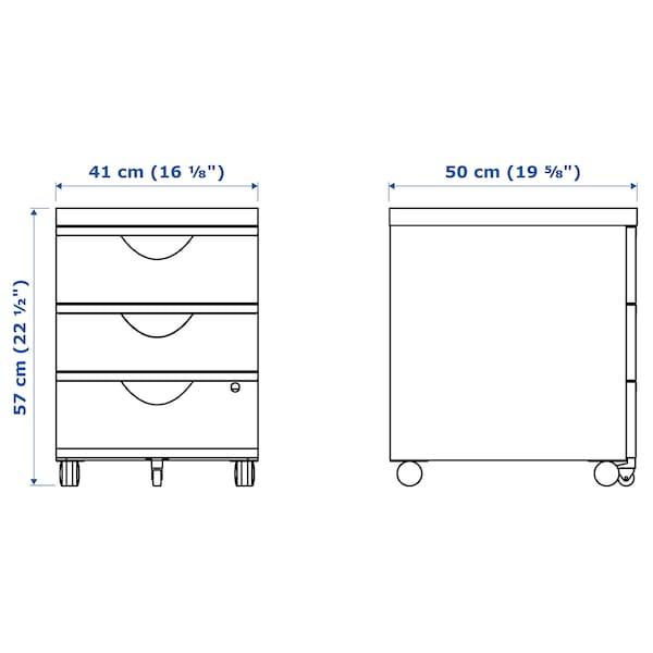 ERIK Drawer unit w 3 drawers on castors, white, 41x57 cm