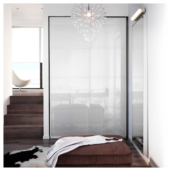 FÄRVIK Pair of sliding doors, white glass, 150x236 cm
