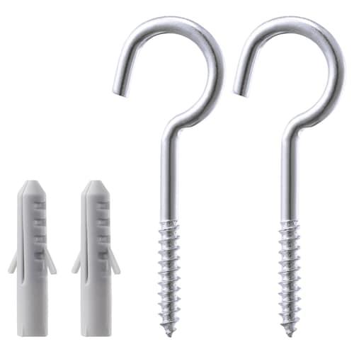 FIXA 4-piece screw hook and plug set silver-colour 4 kg