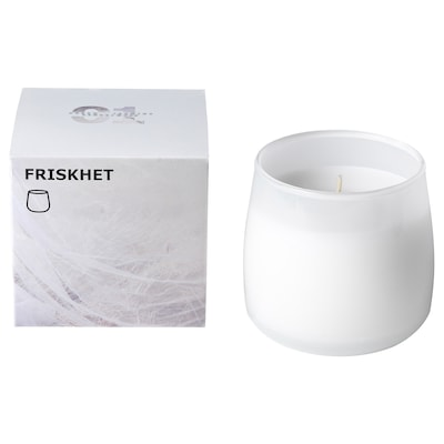 FRISKHET Scented candle in glass, Linen breeze/white, 7.5 cm