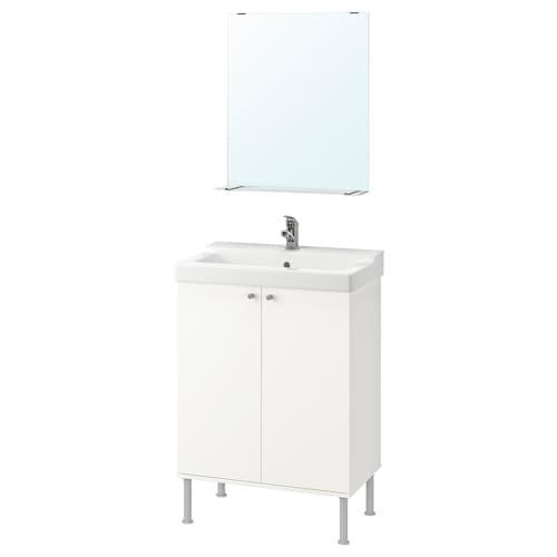 FULLEN / TÄLLEVIKEN bathroom furniture, set of 5 white/Olskär tap 61 cm