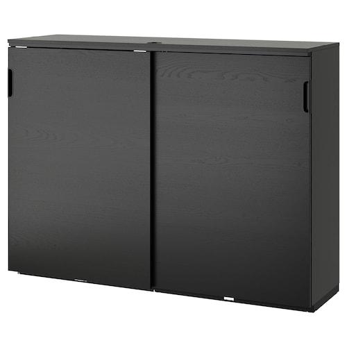 GALANT cabinet with sliding doors black stained ash veneer 160 cm 45 cm 120 cm 30 kg