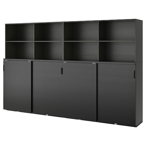 GALANT storage combination w sliding doors black stained ash veneer 320 cm 45 cm 200 cm 30 kg