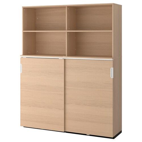 GALANT storage combination w sliding doors white stained oak veneer 160 cm 45 cm 200 cm 30 kg