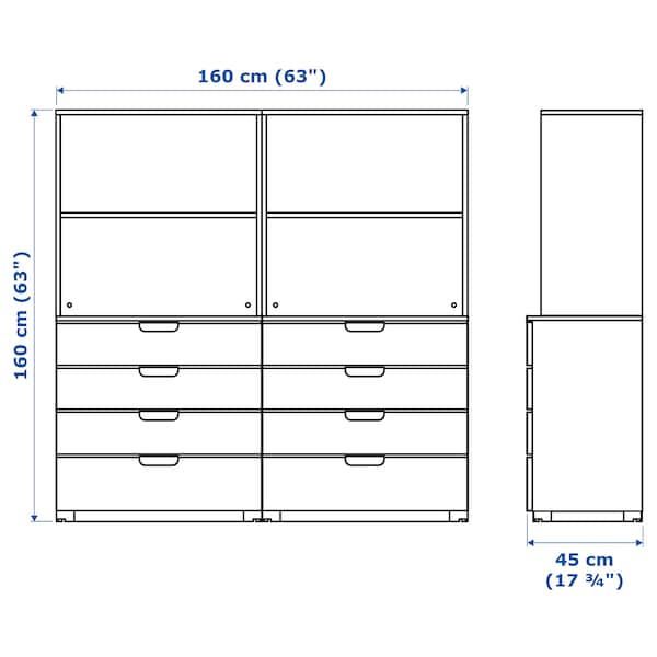 GALANT Storage combination with drawers, black stained ash veneer, 160x160 cm