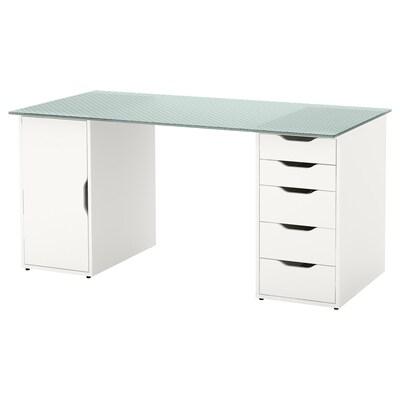 GLASHOLM / ALEX Table, glass/honeycomb patterned white, 148x73 cm