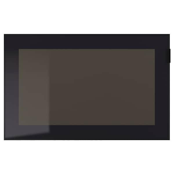 GLASSVIK Glass door, black/smoked glass, 60x38 cm