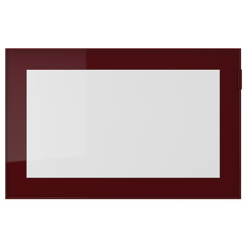 GLASSVIK glass door dark red-brown/clear glass 60 cm 38 cm