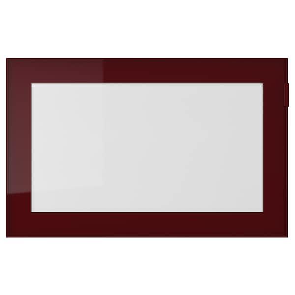 GLASSVIK Glass door, dark red-brown/clear glass, 60x38 cm