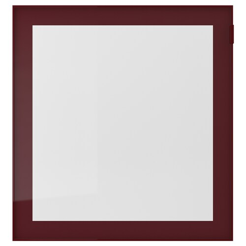 GLASSVIK glass door dark red-brown/clear glass 60 cm 64 cm