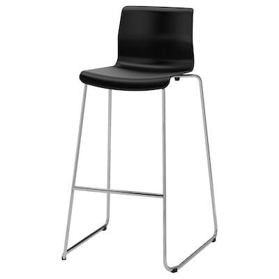 GLENN Bar stool, black/chrome-plated, 77 cm