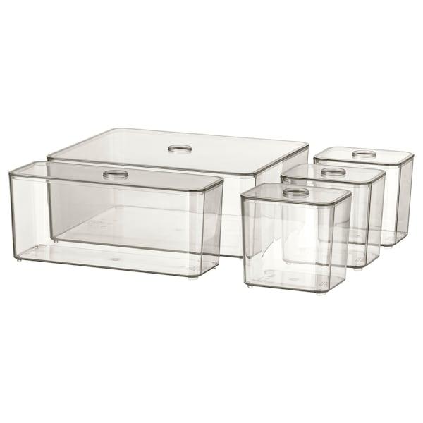 GODMORGON صندوق بغطاء، طقم من 5., دخاني, 24x20x10 سم