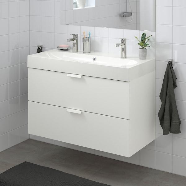 GODMORGON / BRÅVIKEN حامل حوض بدرجين, أبيض/حنفية Brogrund, 100x48x68 سم