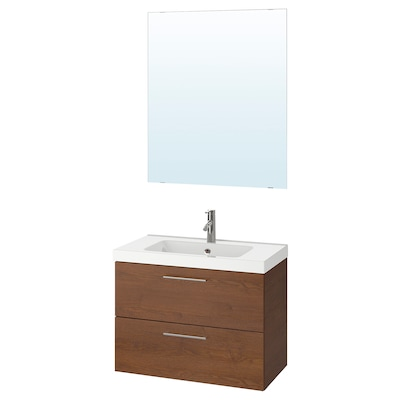 GODMORGON / ODENSVIK Bathroom furniture, set of 4, brown stained ash effect/Dalskär tap, 83x49x64 cm