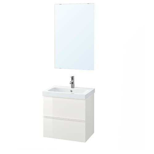 GODMORGON / ODENSVIK bathroom furniture, set of 4 high-gloss white/Dalskär tap 63 cm 60 cm 49 cm 89 cm