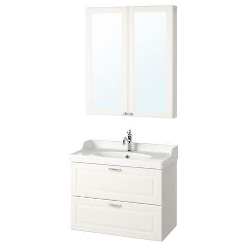 GODMORGON / RÄTTVIKEN bathroom furniture, set of 4 Kasjön white/Hamnskär tap 82 cm 80 cm 49 cm 89 cm