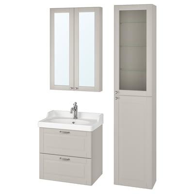 GODMORGON / RÄTTVIKEN Bathroom furniture, set of 5, Kasjön light grey/Hamnskär tap, 62 cm