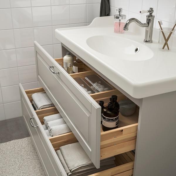 GODMORGON / RÄTTVIKEN bathroom furniture, set of 5 Kasjön light grey/Hamnskär tap 102 cm 100 cm 49 cm 89 cm