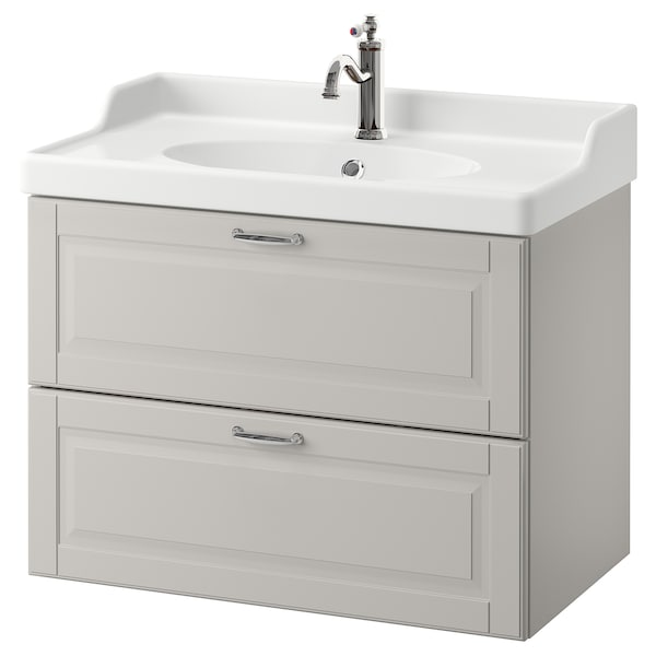 GODMORGON / RÄTTVIKEN Wash-stand with 2 drawers, Kasjön light grey/Hamnskär tap, 82x49x68 cm