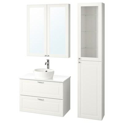 GODMORGON/TOLKEN / KATTEVIK Bathroom furniture, set of 6, Kasjön white/marble effect Voxnan tap, 82 cm