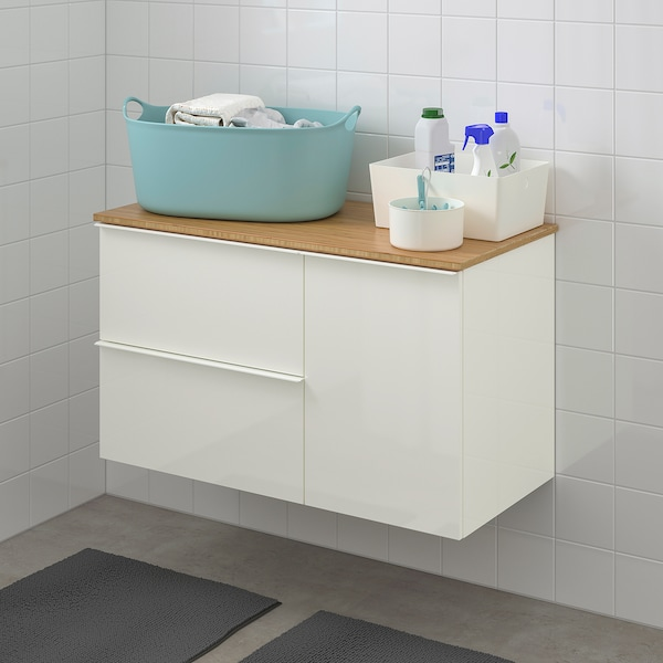 GODMORGON / TOLKEN wash-stand with 3 drawers high-gloss white/bamboo 102 cm 49 cm 60 cm