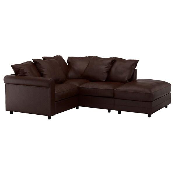 GRÖNLID Corner sofa, 3-seat, with open end/Kimstad dark brown