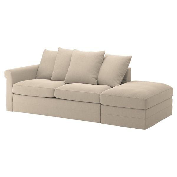 GRÖNLID غطاء كنبة - سرير 3 مقاعد, مع طرف مفتوح/Sporda طبيعي