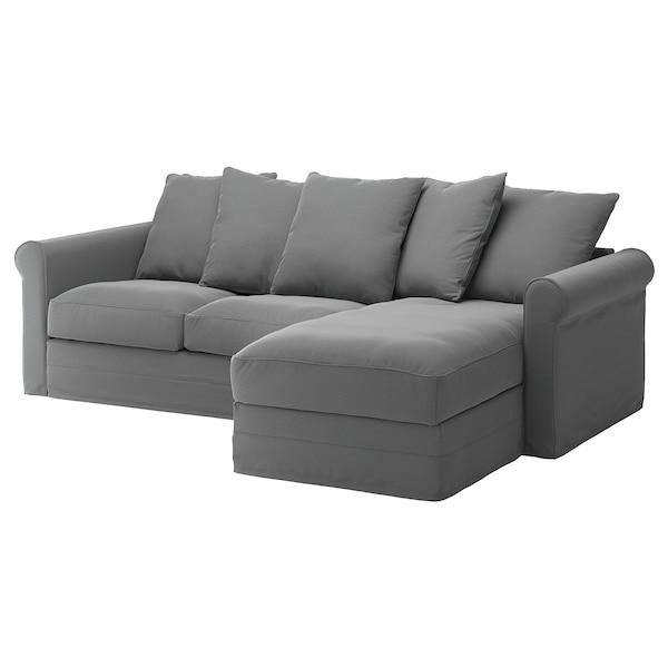 GRÖNLID غطاء كنبة ثلاث مقاعد, مع أريكة طويلة/Ljungen رمادي معتدل