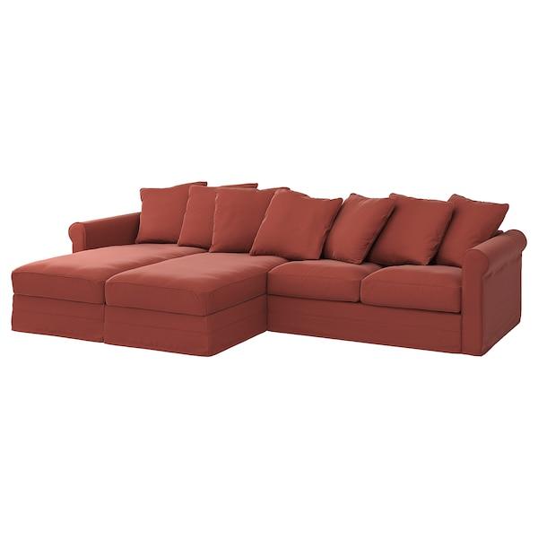 GRÖNLID غطاء كنبة 4 مقاعد, مع كرسي أسترخاء/Ljungen أحمر فاتح