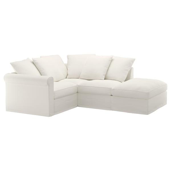 GRÖNLID غطاء كنبة زاوية، 3 مقاعد, مع طرف مفتوح/Inseros أبيض