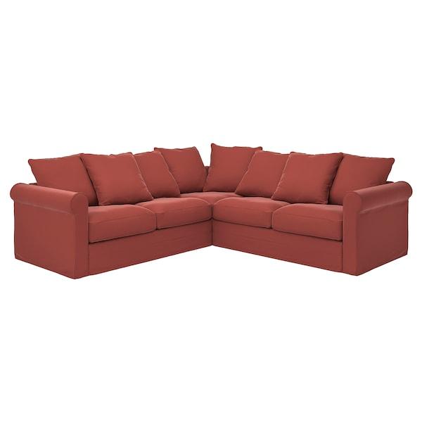 GRÖNLID غطاء كنبة زاوية، 4 مقاعد, Ljungen أحمر فاتح
