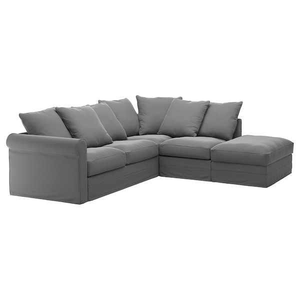 GRÖNLID cover for corner sofa, 4-seat with open end/Ljungen medium grey