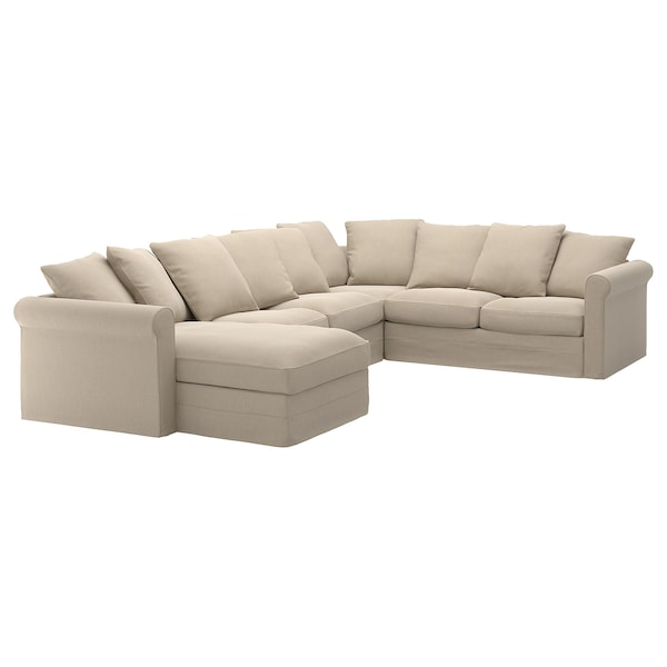 GRÖNLID cover for corner sofa, 5-seat with chaise longue/Sporda natural
