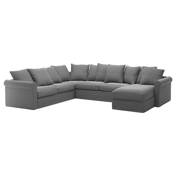 GRÖNLID غطاء كنبة-سرير زاوية، 5 مقاعد, مع أريكة طويلة/Ljungen رمادي معتدل
