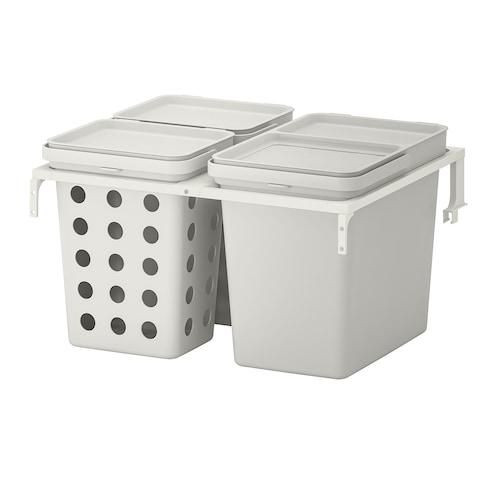 HÅLLBAR waste sorting solution for METOD kitchen drawer ventilated/light grey 42 l