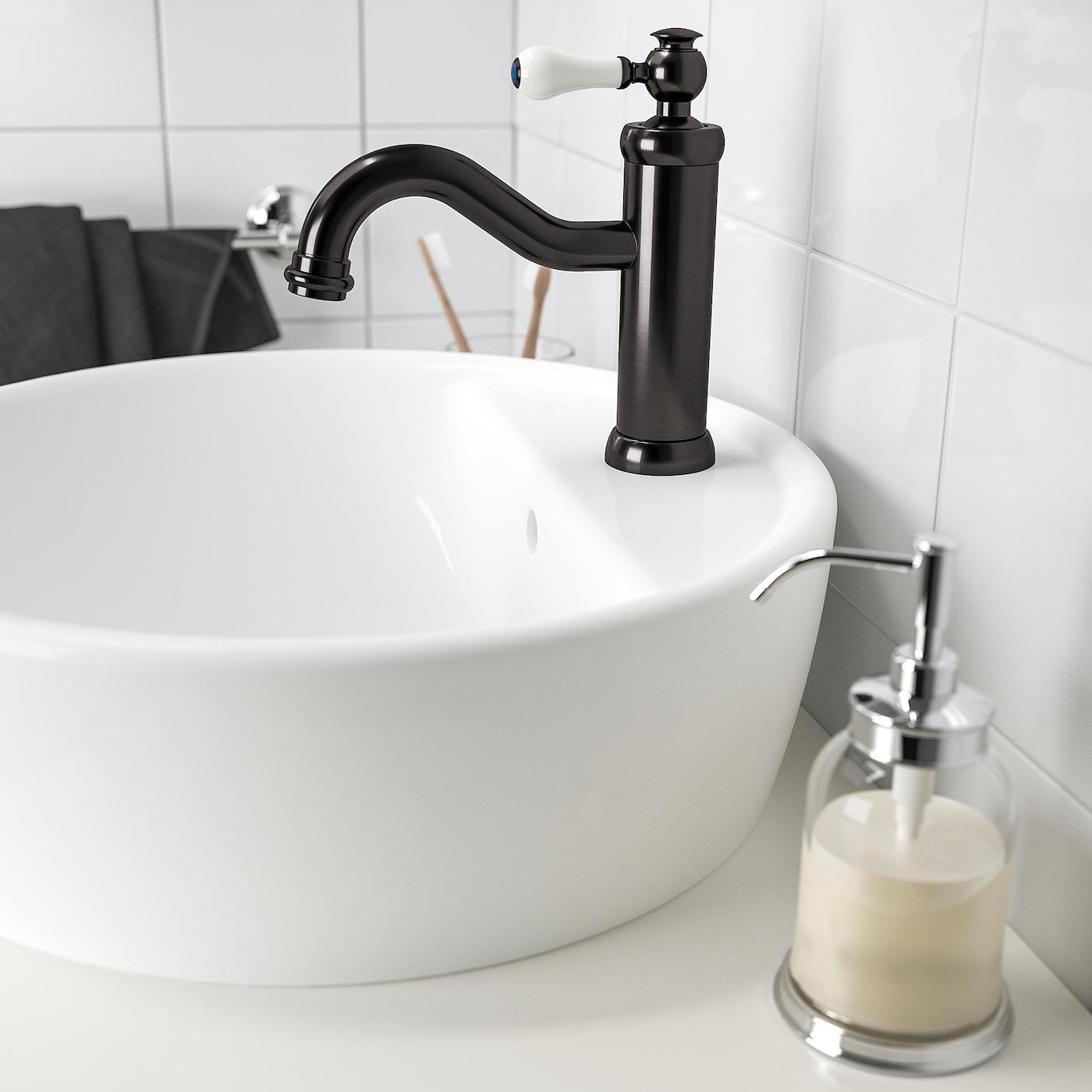 HAMNSKÄR خلاط ماء حوض غسيل مع صمام, أسود