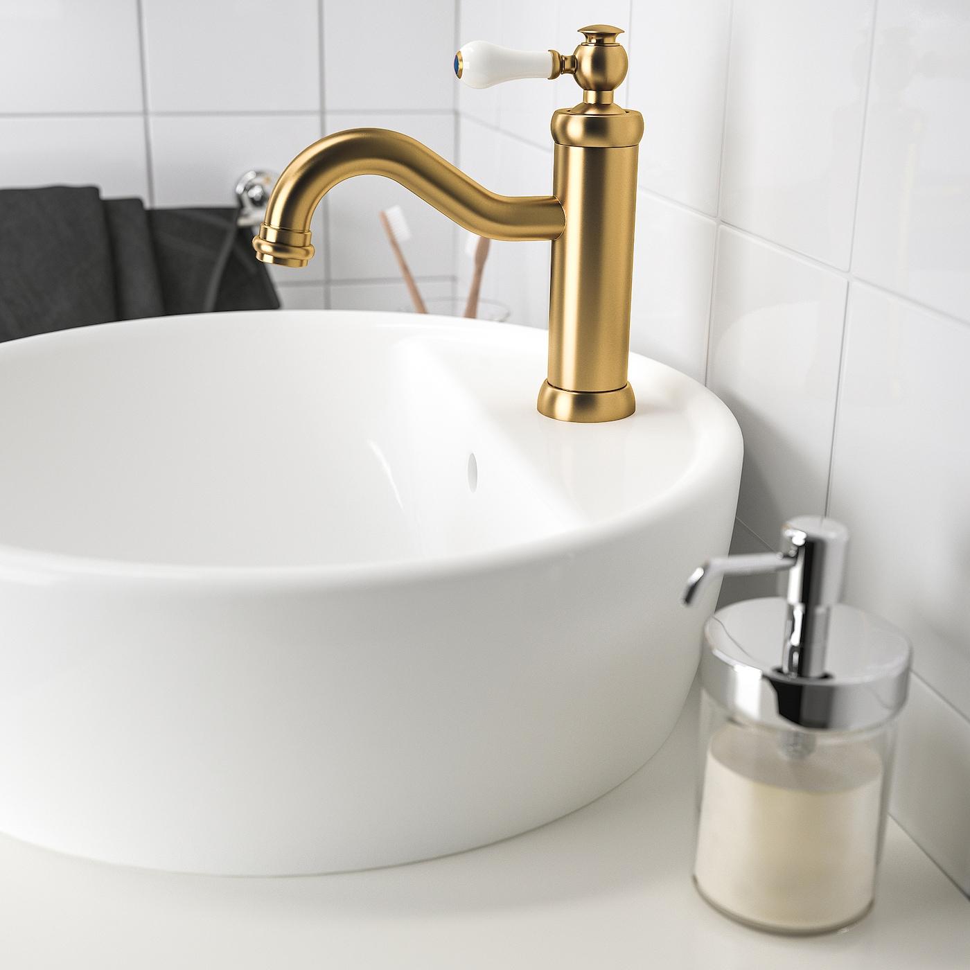 HAMNSKÄR خلاط ماء حوض غسيل مع صمام, لون نحاسي