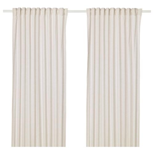 HANNALILL curtains, 1 pair beige 300 cm 145 cm 1.20 kg 4.63 m² 2 pieces