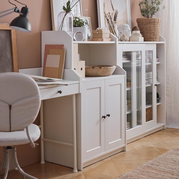 HAUGA خزانة مع درجين, أبيض, 70x116 سم