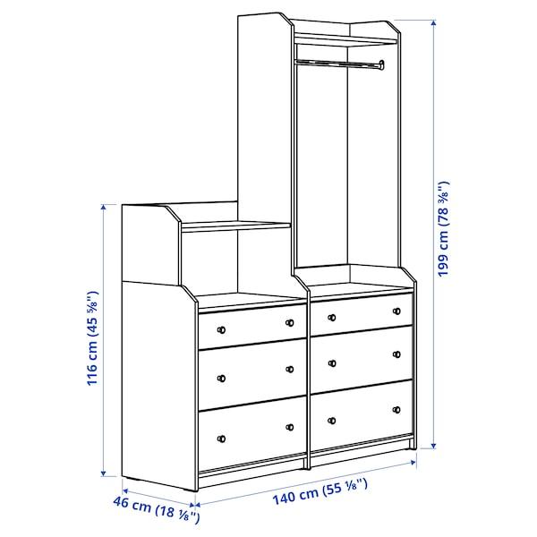 HAUGA Storage combination, white, 140x199 cm