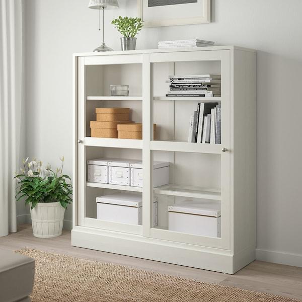 HAVSTA خزانة بباب زجاجي, أبيض زجاج شفاف, 121x37x134 سم