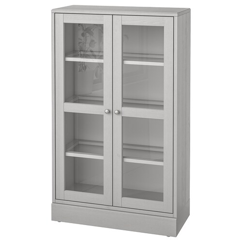 HAVSTA glass-door cabinet with plinth grey/clear glass 81 cm 37 cm 134 cm 23 kg