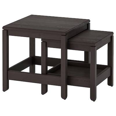 HAVSTA طاولات متداخلة، طقم من 2., بني غامق