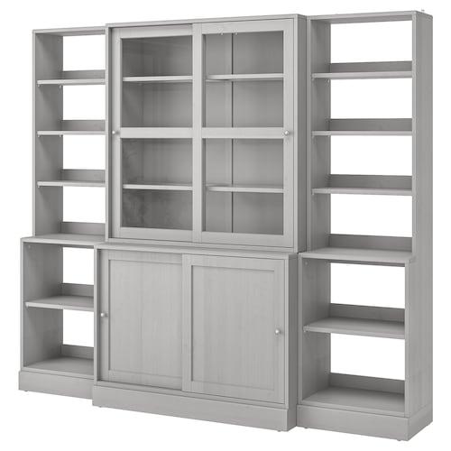 HAVSTA storage comb w sliding glass doors grey 243 cm 47 cm 212 cm 20 kg