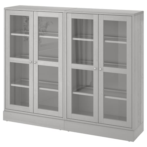 HAVSTA storage combination w glass doors grey 162 cm 37 cm 134 cm 23 kg