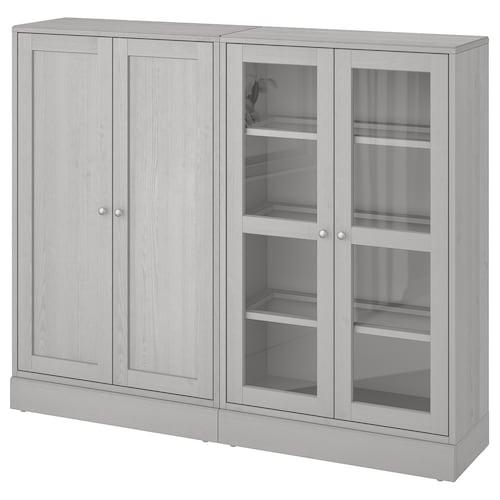HAVSTA storage combination w glass-doors grey 162 cm 37 cm 134 cm 23 kg