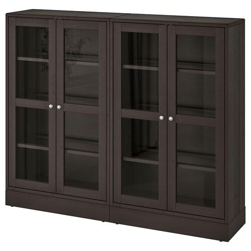 HAVSTA storage combination w glass doors dark brown 162 cm 37 cm 134 cm 23 kg