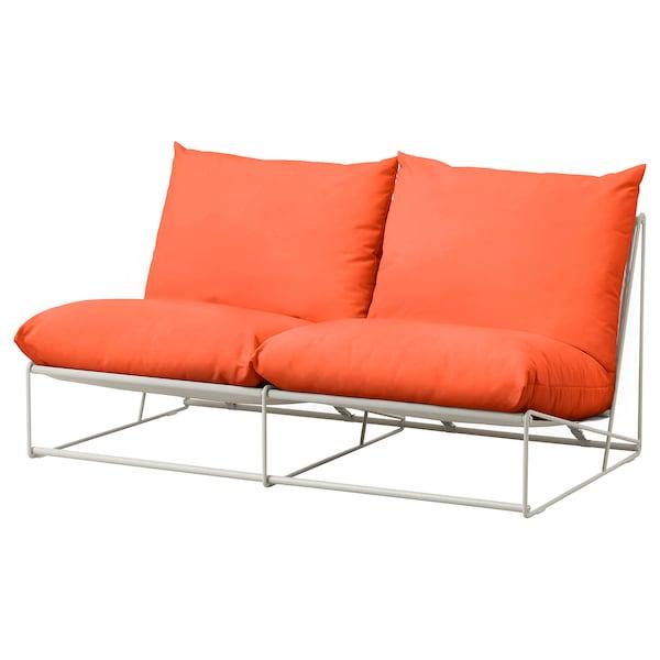HAVSTEN 2-seat sofa, in/outdoor, without armrests orange/beige, 164x94x90 cm