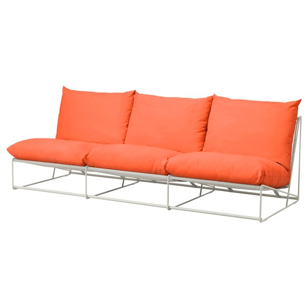HAVSTEN 3-seat sofa, in/outdoor, without armrests orange/beige, 245x94x90 cm